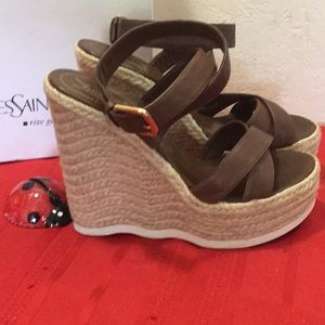 da6716577 Yves Saint Laurent Shoes - YSL Saint Malo Leather Twine Wedge Sandals